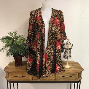 Volcom Leopard Floral Lace Open Kimono M/L